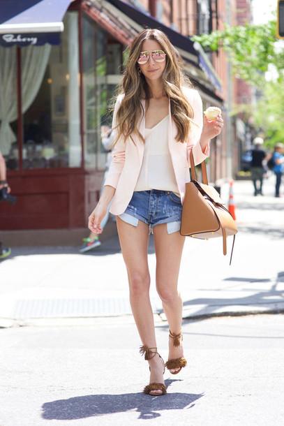 something navy blogger shorts shoes tank top jacket sunglasses jewels bag