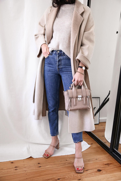 mademoiselle blogger sweater jeans coat bag sandals beige coat