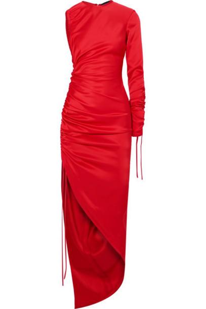 David Koma - One-shoulder Ruched Satin Dress - Red