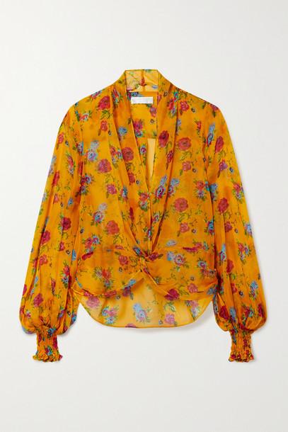 Caroline Constas - Bette Twist-front Floral-print Silk Blouse - Orange