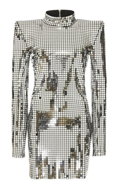 Balmain High-Neck Silver Mini Dress