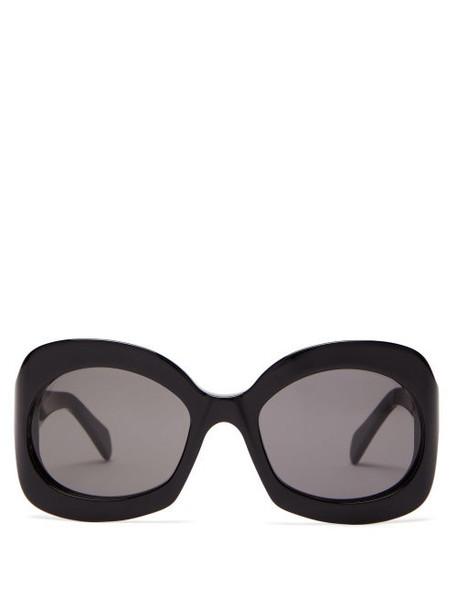 Celine Eyewear - Round Tortoiseshell Effect Acetate Sunglasses - Womens - Black