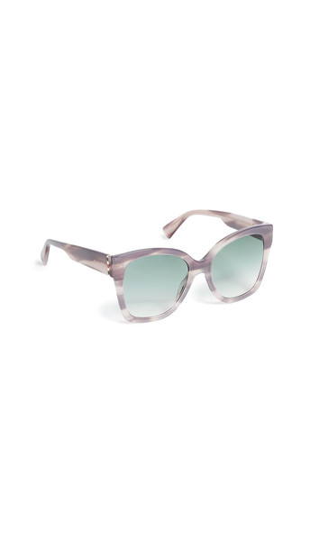 Gucci Web Plaque Sunglasses in gold / green