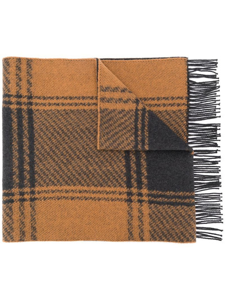 Mackintosh checked fringed scarf in brown