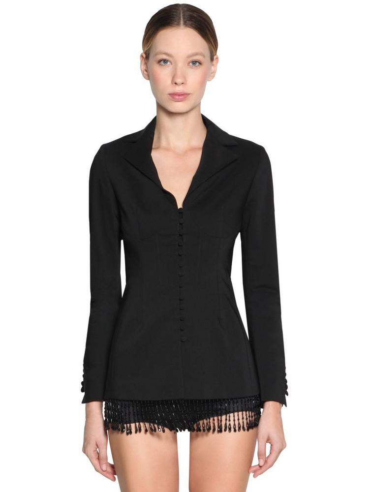 GIUSEPPE DI MORABITO Beaded Bottom Gabardine Blazer Jacket in black