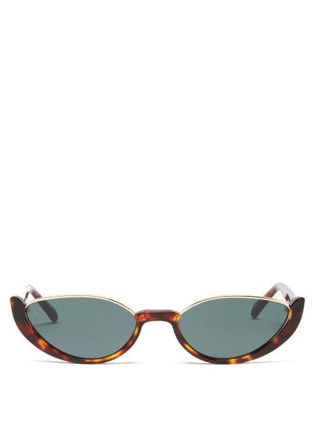 Linda Farrow - Robyn Half-rim Cat-eye Acetate Sunglasses - Womens - Tortoiseshell