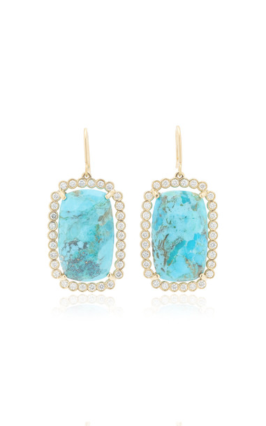 Kathryn Elyse Halo 14K Yellow Gold Turquoise and Diamond Earrings in blue