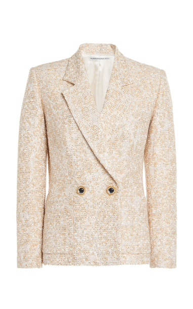 Alessandra Rich Lurex Tweed Double Breasted Jacket in white