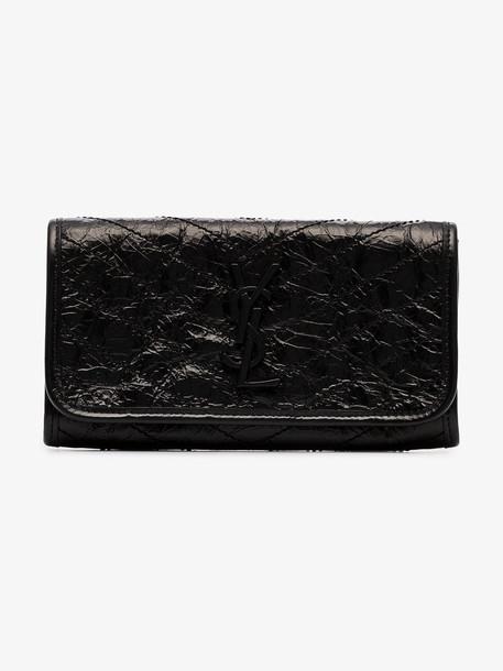 Saint Laurent Niki crinkled monogram plaque purse in black