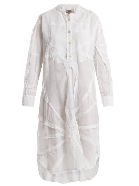 By Walid - Patchwork Cotton Shirtdress - Womens - White