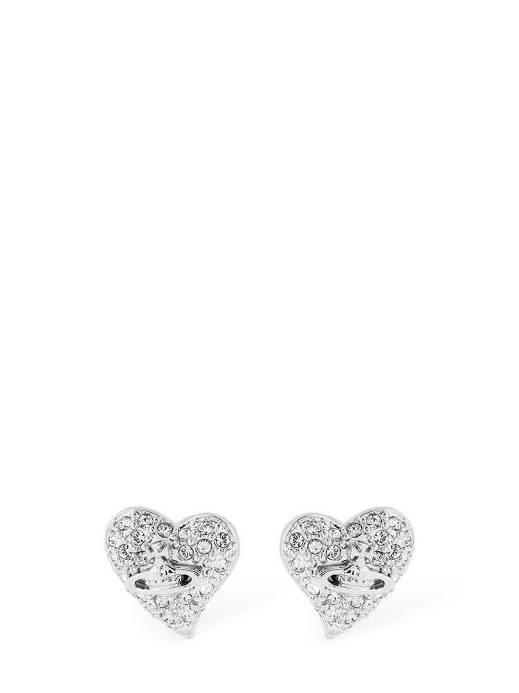 VIVIENNE WESTWOOD Small Logo Diamante Stud Earrings