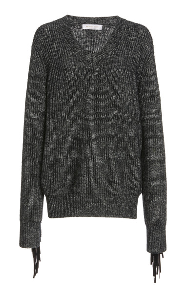 Michael Kors Collection Fringed Cotton-Cashmere Sweater in grey