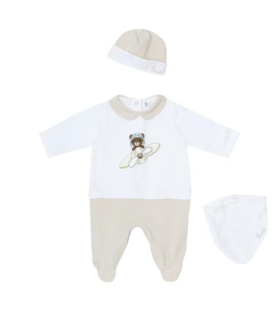 Fendi Kids Stretch-cotton onesie and hat set in neutrals