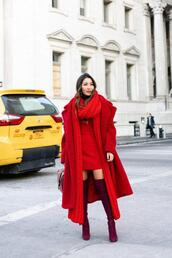 wendy's,lookbook,blogger,coat,dress,sweater,bag,shoes,scarf,winter outfits,red coat,red dress,red boots,thigh high boots