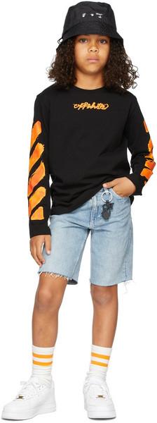 Off-White Kids Script Logo Long Sleeve T-Shirt in black / orange