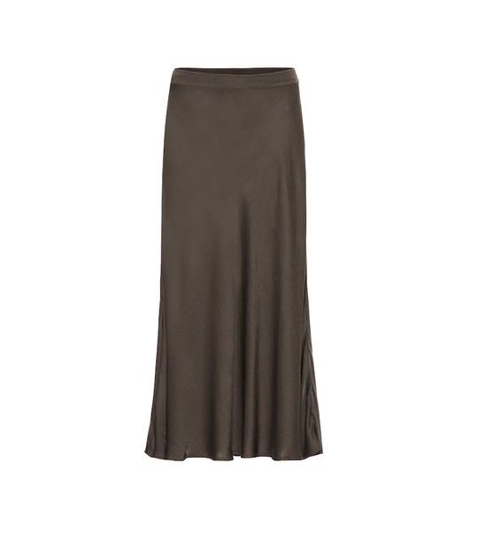 Velvet Shelby satin midi skirt in green