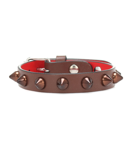 Christian Louboutin Loubilink studded leather bracelet in brown