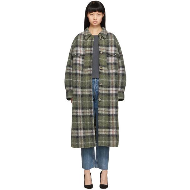 Isabel Marant Etoile Green Plaid Gabrion Coat