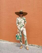 pants,palm tree print,flat sandals,blazer,shoulder bag,hat