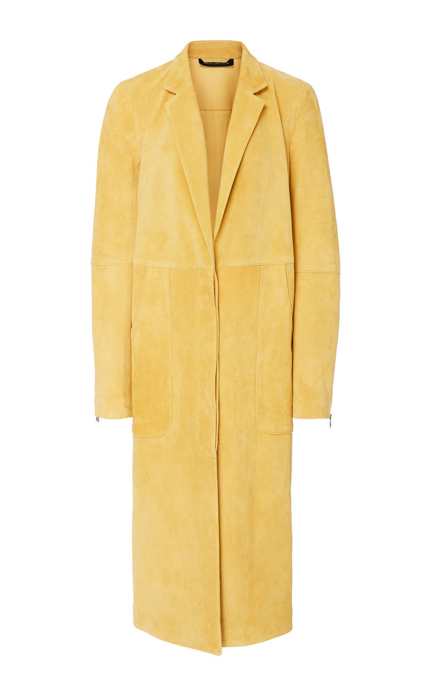 Sally LaPointe Lightweight Suede Seamed Tailored Coat in yellow