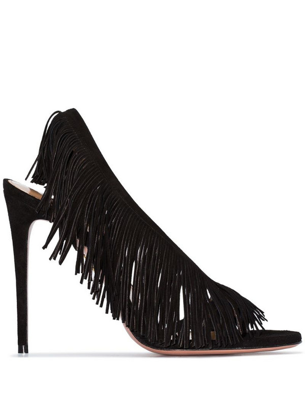 Aquazzura Wild Fringe 105mm sandals in black