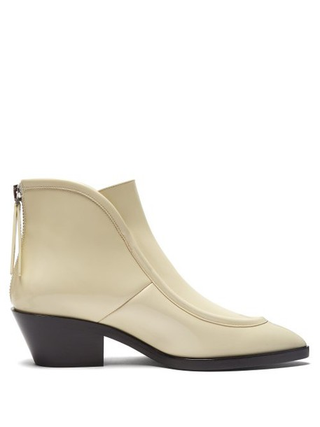 Jil Sander - Pointed Toe Western Leather Ankle Boots - Womens - White