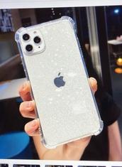 phone cover,transparent glitter