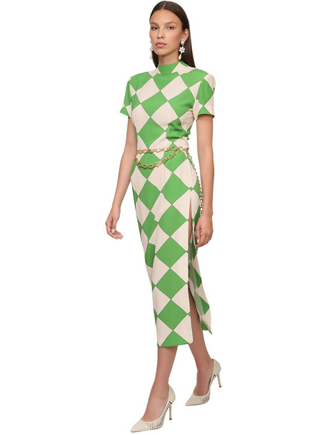 ROWEN ROSE Printed Crepe Midi Dress in green / white