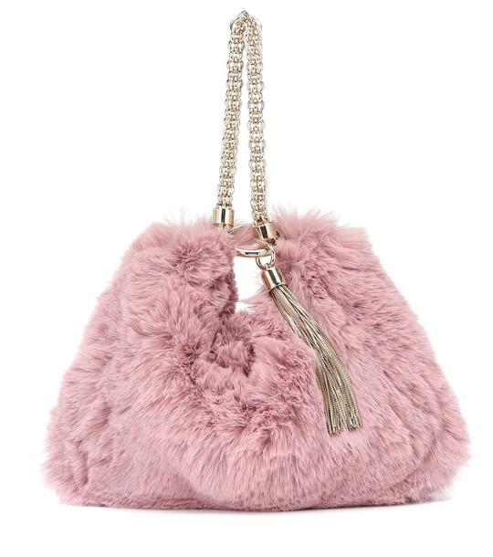 Jimmy Choo Callie faux fur clutch in purple