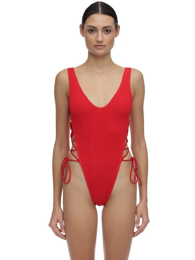 BOND EYE Margot Seersucker One Piece Swimsuit in red