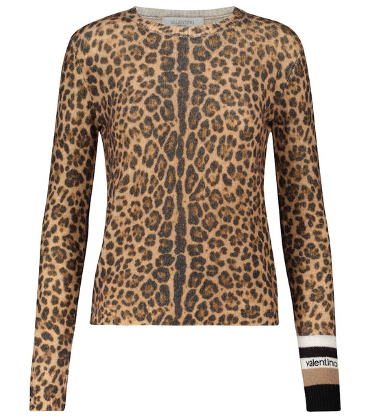 Valentino Leopard-print cashmere and wool sweater in brown