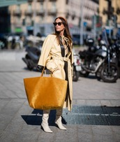 bag,maxi bag,white boots,knee high boots,celine,trench coat,long coat,sunglasses,headband