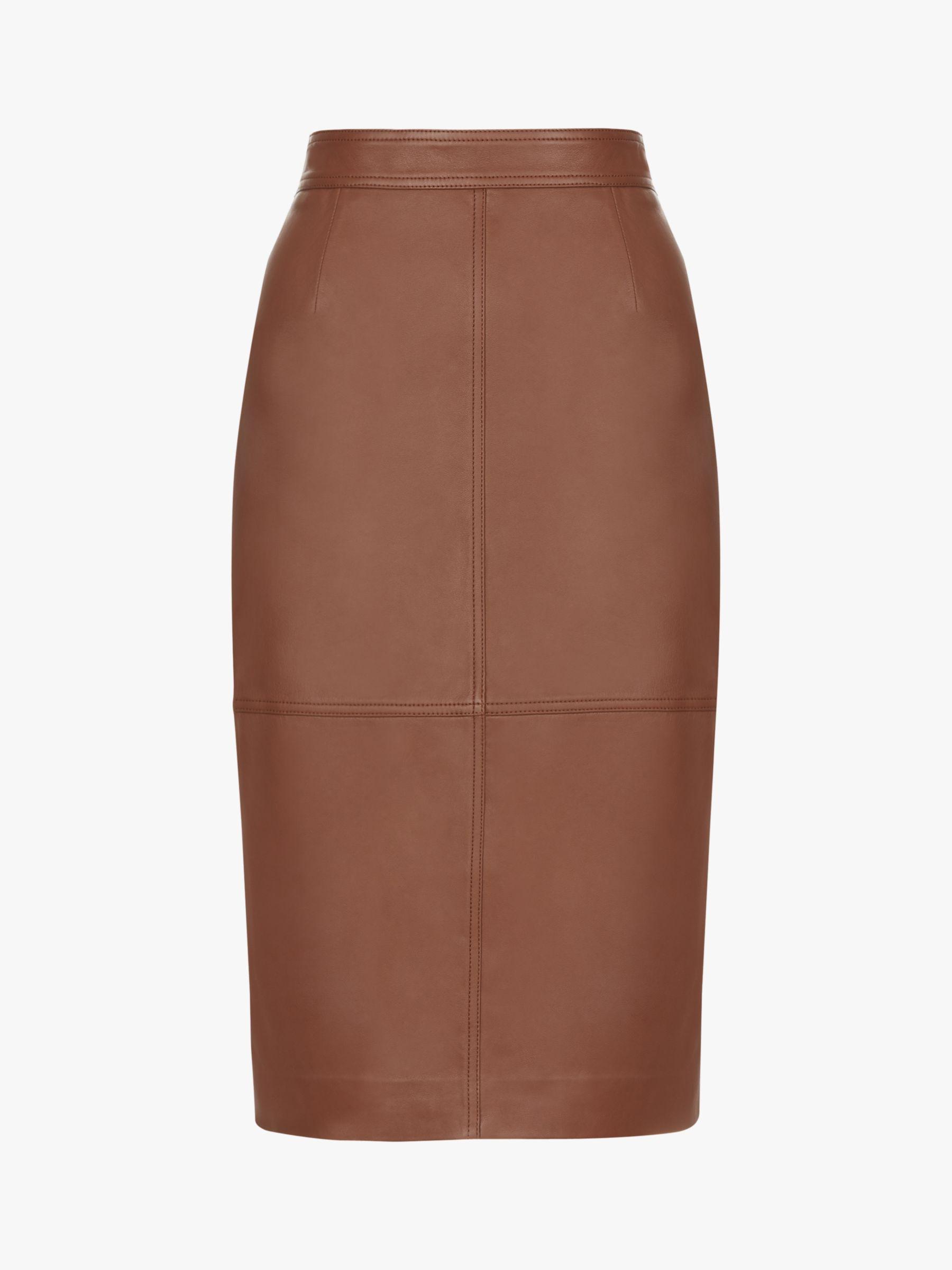 Hobbs Thea Leather Skirt, Tan
