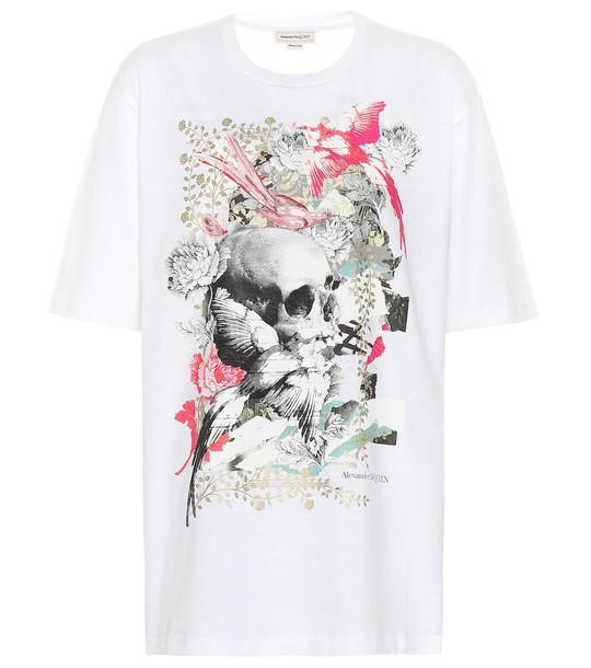 Alexander McQueen Printed cotton T-shirt in white