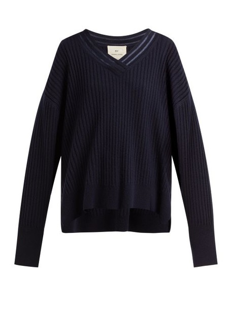 By. Bonnie Young - V Neck Cashmere Sweater - Womens - Navy