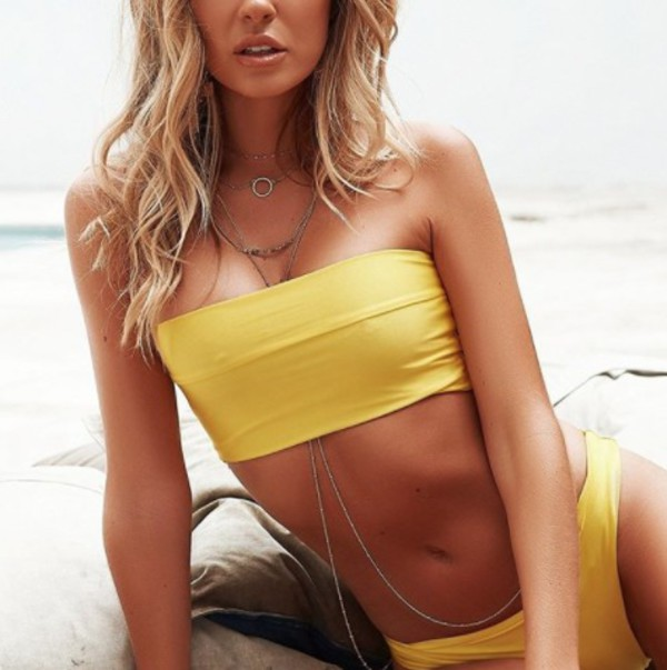 swimwear yellow bikini summer set strapless bandeau