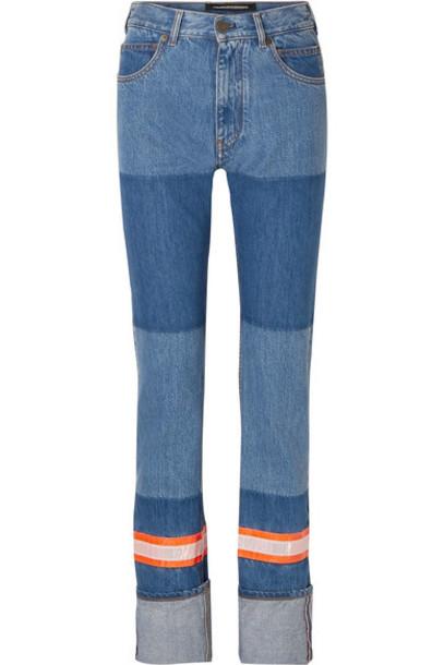CALVIN KLEIN 205W39NYC - Appliquéd Two-tone High-rise Straight-leg Jeans - Blue
