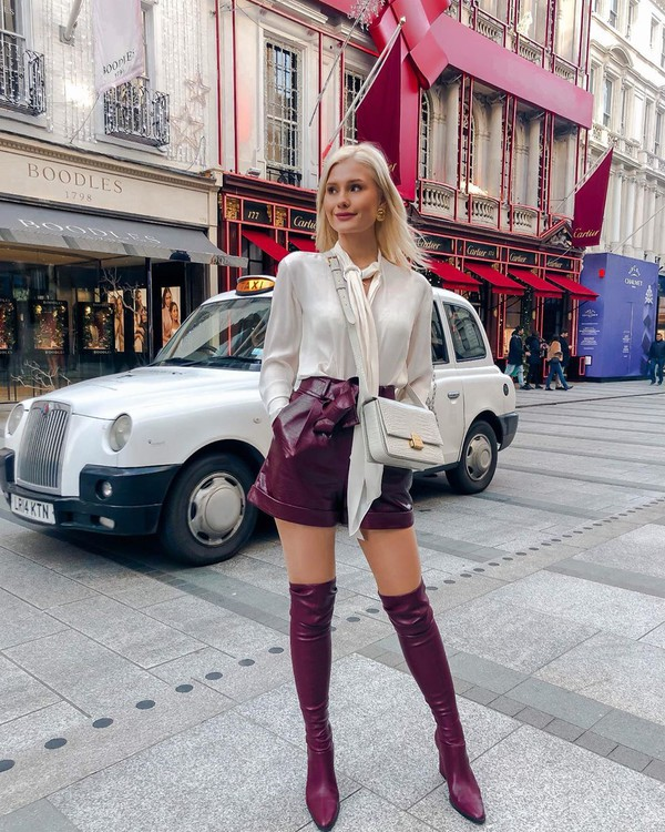 shorts leather shorts topshop over the knee boots mango white blouse white bag
