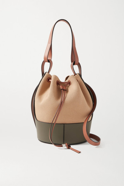 Loewe - Balloon Medium Canvas And Leather Bucket Bag - Army green