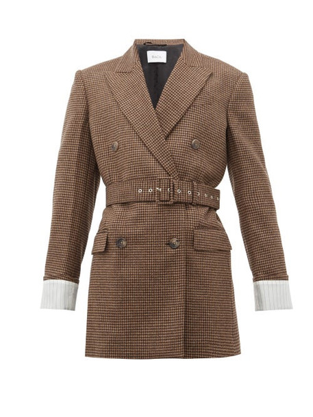 Racil - Farrah Belted Wool Houndstooth Jacket - Womens - Brown