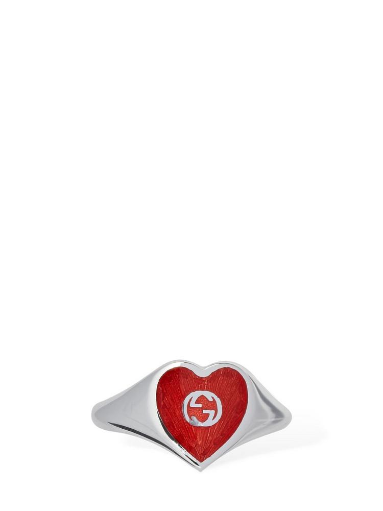 GUCCI Interlocking G Enamel Heart Ring in red / silver