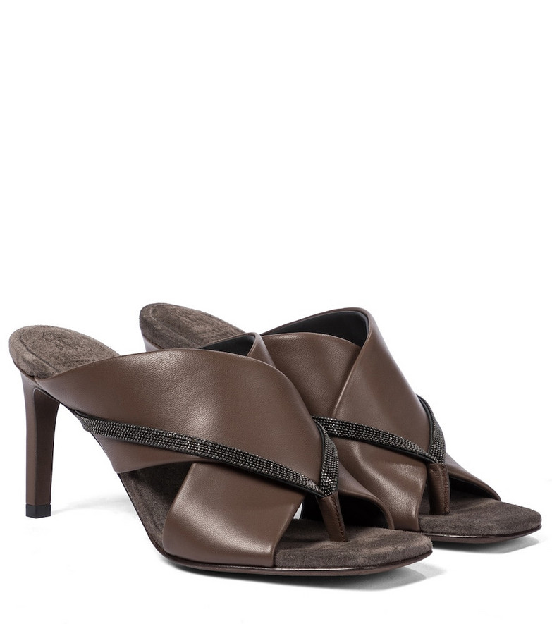 Brunello Cucinelli Embellished leather thong sandals in brown