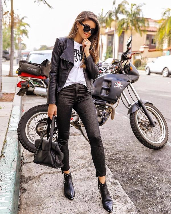 jacket black jacket leather jacket black boots ankle boots black pants skinny pants black bag shoulder bag white t-shirt