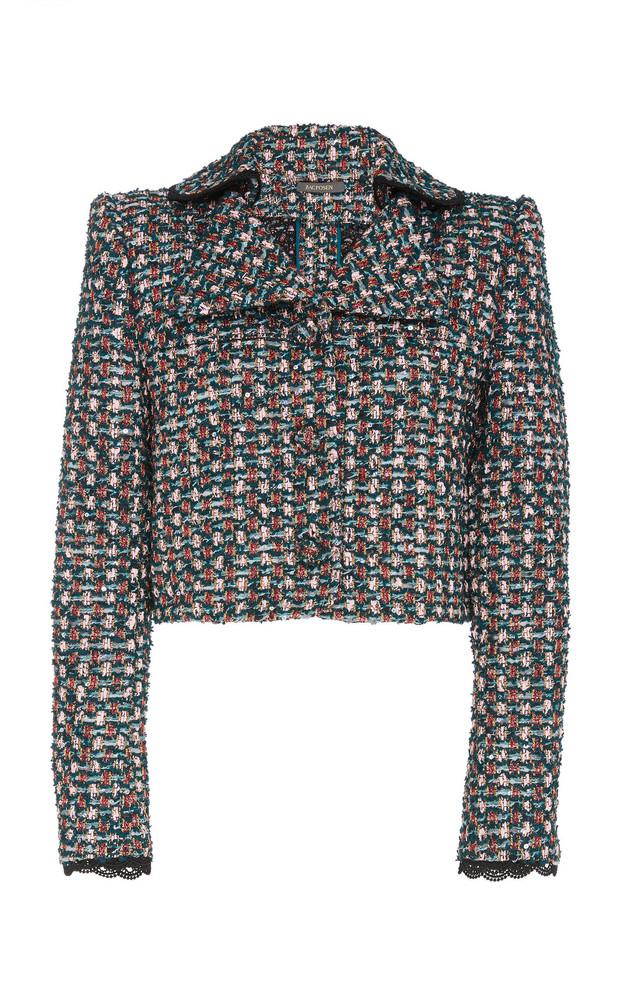 Zac Posen Cropped Tweed Jacket in pink