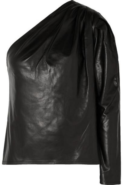 IRO - Molia One-sleeve Leather Top - Black