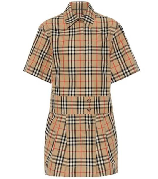 Burberry Jaynie Check cotton minidress in beige