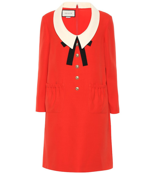 Gucci Silk and wool cady dress in red