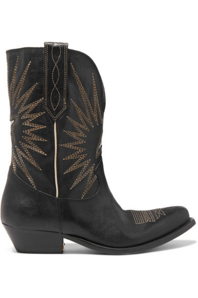 Golden Goose Deluxe Brand - Wish Star Low Embroidered Textured-leather Boots - Black