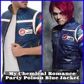 coat,chemical romance,party poison,party poison blue jacket