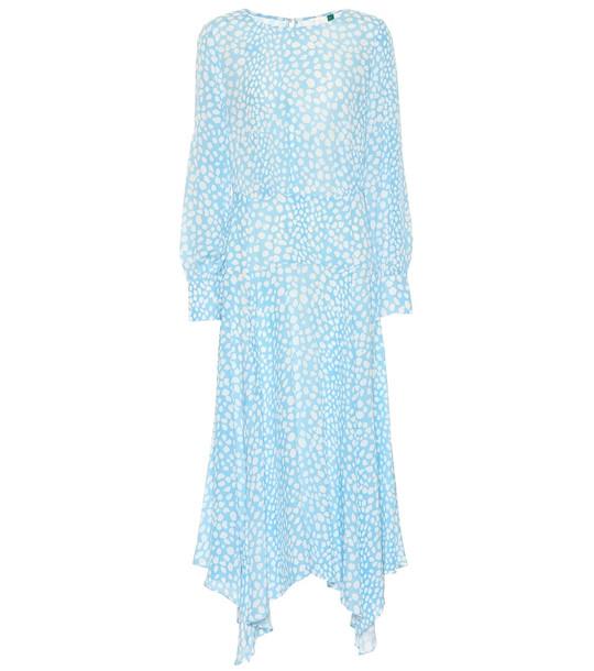 Rixo Elsa leopard-print midi dress in blue